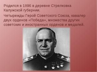 Родился в 1896 в деревне Стрелковка Калужской губернии. Четырежды Герой Совет