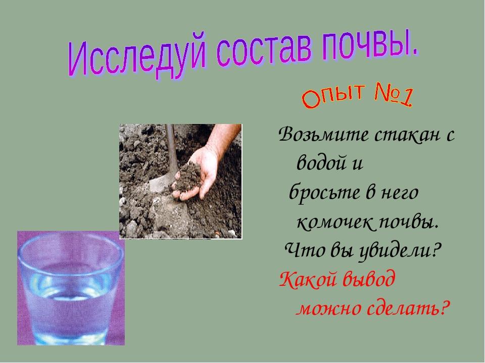 Возьмите стакан с водой и бросьте в него комочек почвы. Что вы увидели? Какой...