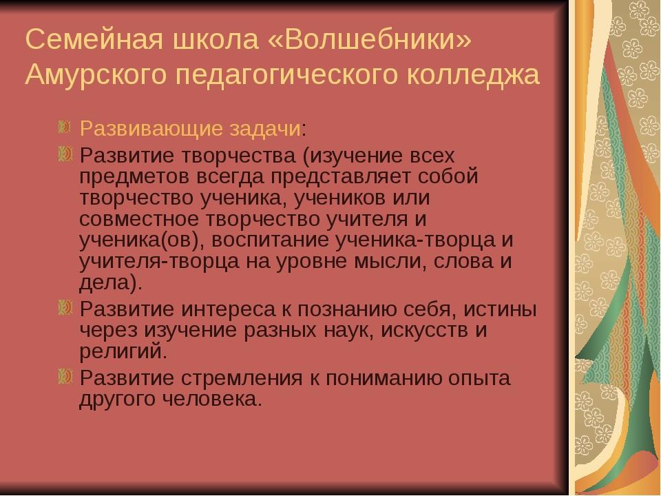 Семейная школа «Волшебники» Амурского педагогического колледжа Развивающие за...