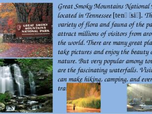 Great Smoky Mountains National Park is located in Tennessee [tenəˈsiː]. The w