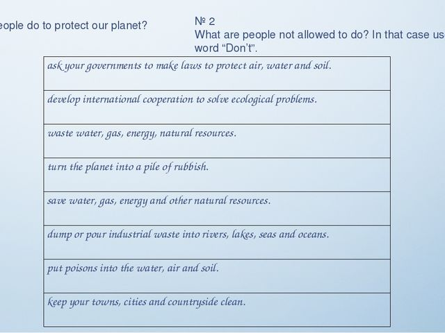 № 1 What can people do to protect our planet? № 2 What are people not allowed...