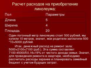 Расчет расходов на приобретение линолеума: Один погонный метр линолеума стоит