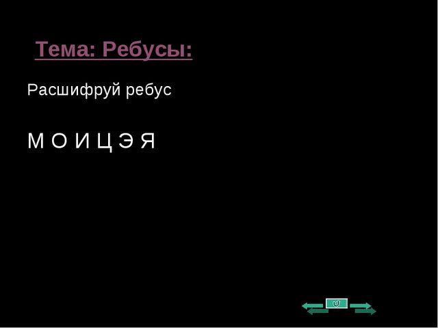 Тема: Ребусы: Расшифруй ребус М О И Ц Э Я