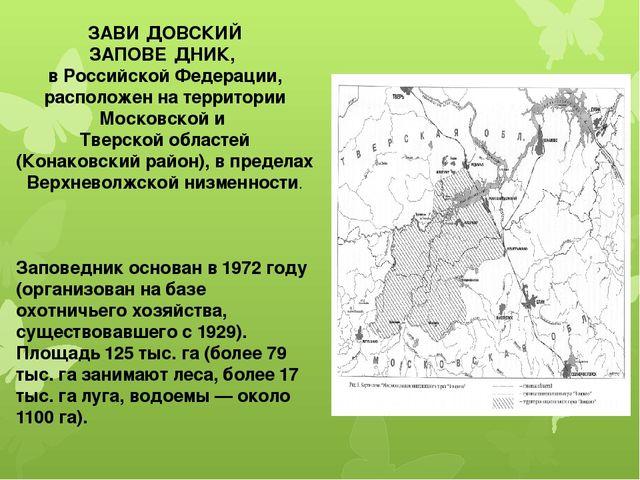 ЗАВИ́ДОВСКИЙ ЗАПОВЕ́ДНИК, в Российской Федерации, расположен на территории Мо...