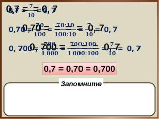 0,7 = 0,70 = 0,700 Дробь не изменится, если в конце записи десятичных долей п