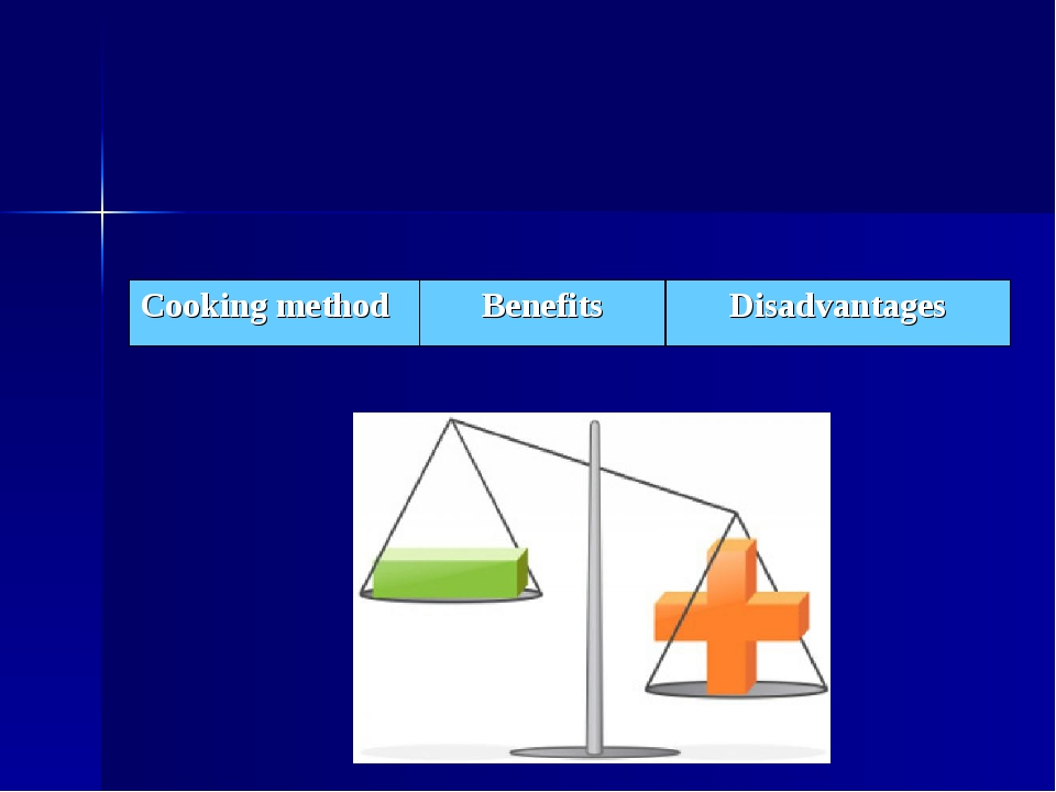 Cooking method	Benefits	Disadvantages