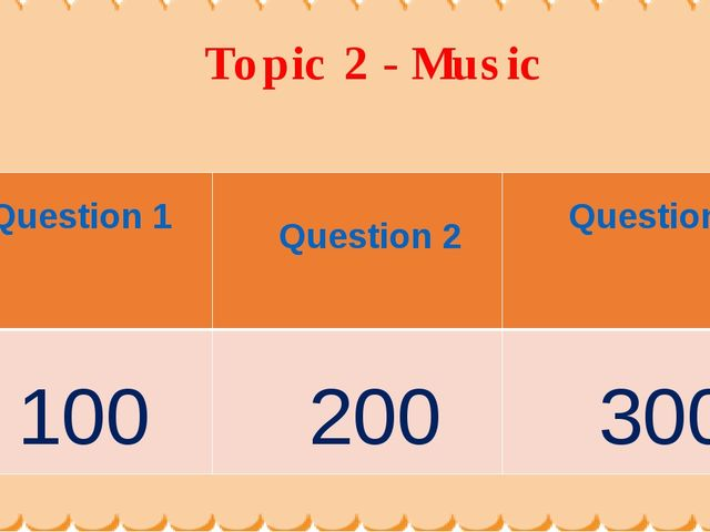 Topic 2 - Music Question 1	 Question 2	 Question3 100	 200	 300