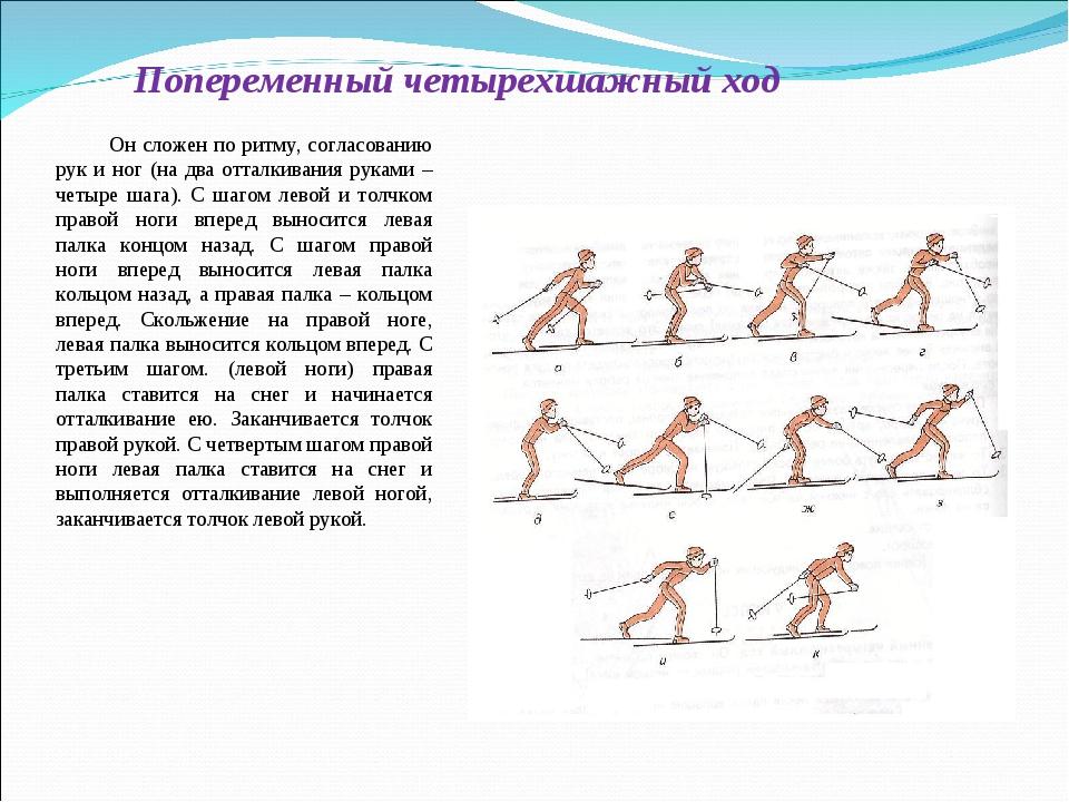 Попеременный четырехшажный ход Он сложен по ритму, согласованию рук и ног (на...