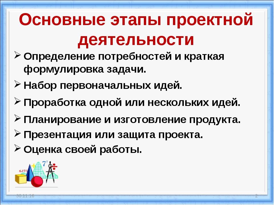 Основные этапы проектной деятельности Определение потребностей и краткая форм...