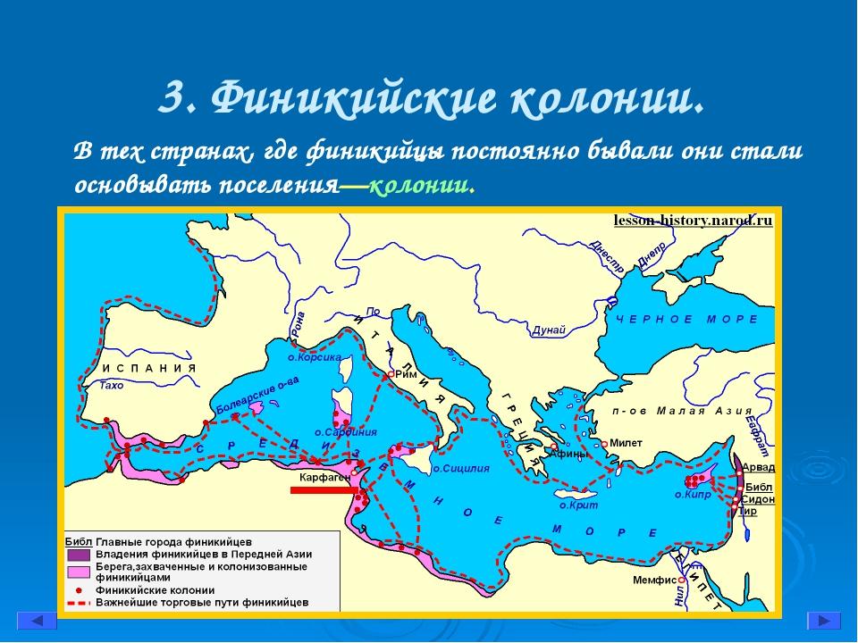 3. Финикийские колонии. В тех странах, где финикийцы постоянно бывали они ста...