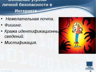 Основные угрозы личной безопасности в Интернете Нежелательная почта. Фишин
