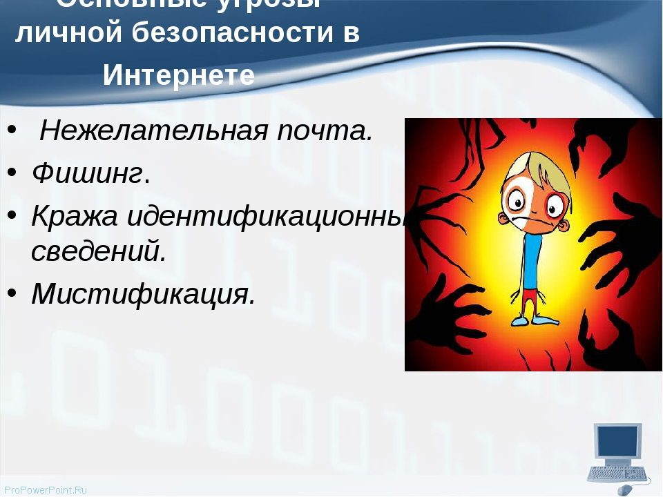 Основные угрозы личной безопасности в Интернете Нежелательная почта. Фишин...
