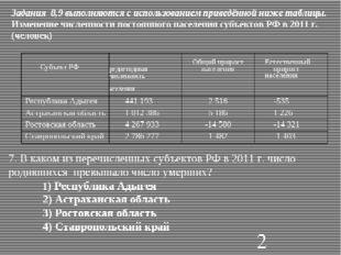 Задания 8,9 выполняются с использованием приведённой ниже таблицы. Изменение