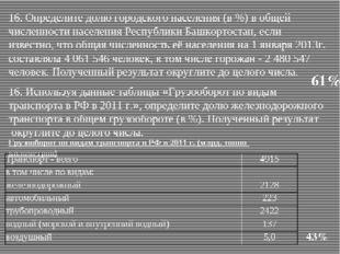 16. Определите долю городского населения (в %) в общей численности населения