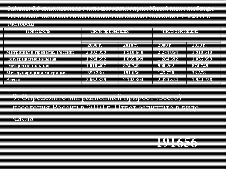 Задания 8,9 выполняются с использованием приведённой ниже таблицы. Изменение...