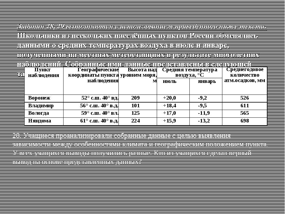 Задания 28, 29 выполняются с использованием приведенного ниже текста. Школьни...