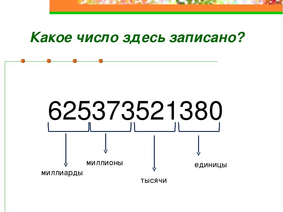 625373521380 единицы тысячи миллионы миллиарды Какое число здесь записано?