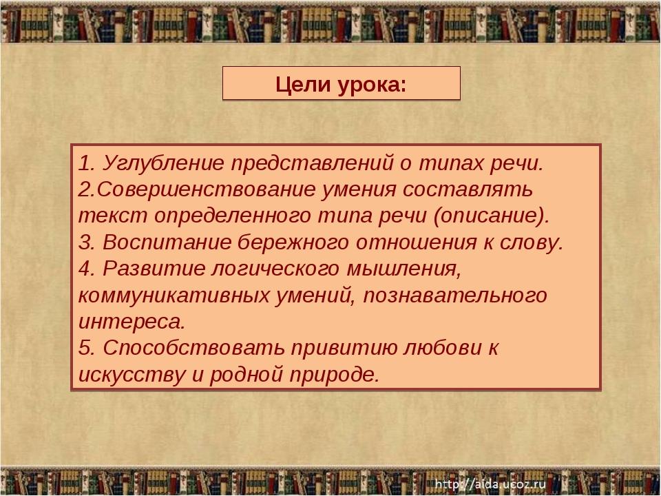 * Цели урока: 1. Углубление представлений о типах речи. 2.Совершенствование у...