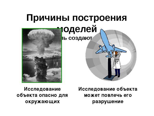 Причины построения моделей Модель создают, если Исследование объекта опасно д...