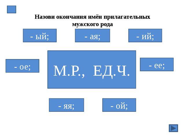 СУПЕР! ОШИБКА! Назови окончания имён прилагательных мужского рода М.Р., ЕД.Ч...