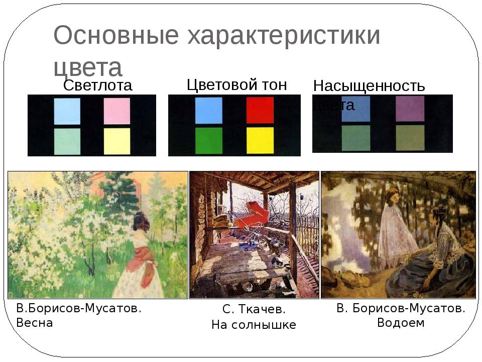 Основные характеристики цвета Светлота Цветовой тон Насыщенность цвета С. Тка...