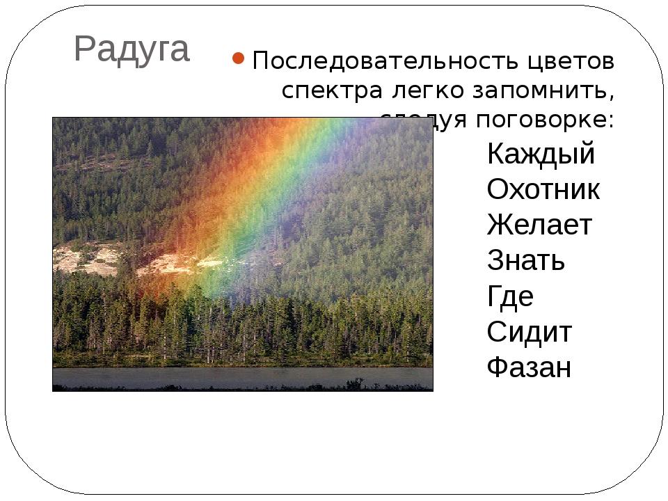 Радуга Последовательность цветов спектра легко запомнить, следуя поговорке: К...