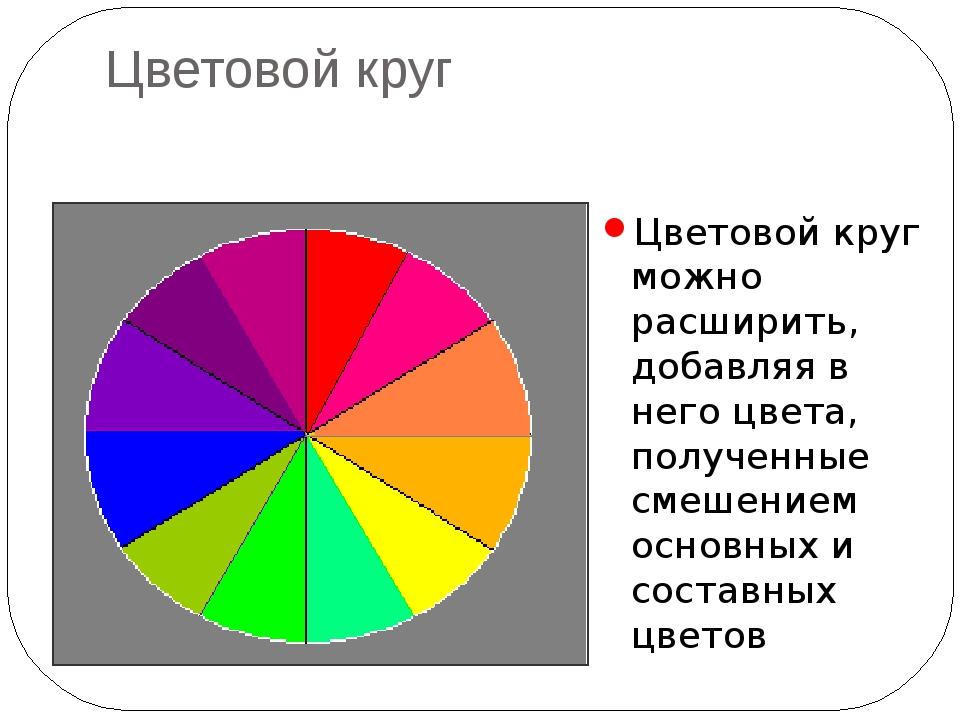 Цветовой круг Цветовой круг можно расширить, добавляя в него цвета, полученны...