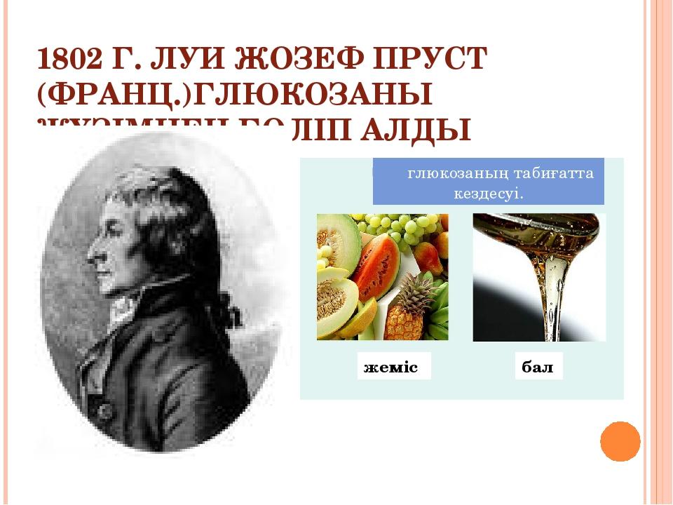 1802 Г. ЛУИ ЖОЗЕФ ПРУСТ (ФРАНЦ.)ГЛЮКОЗАНЫ ЖҮЗІМНЕН БӨЛІП АЛДЫ глюкозаның таби...