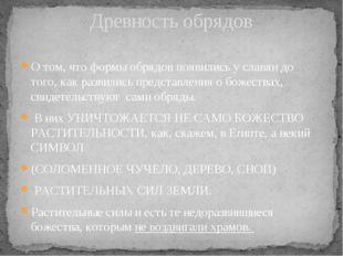 О том, что формы обрядов появились у славян до тoгo, как развились представле