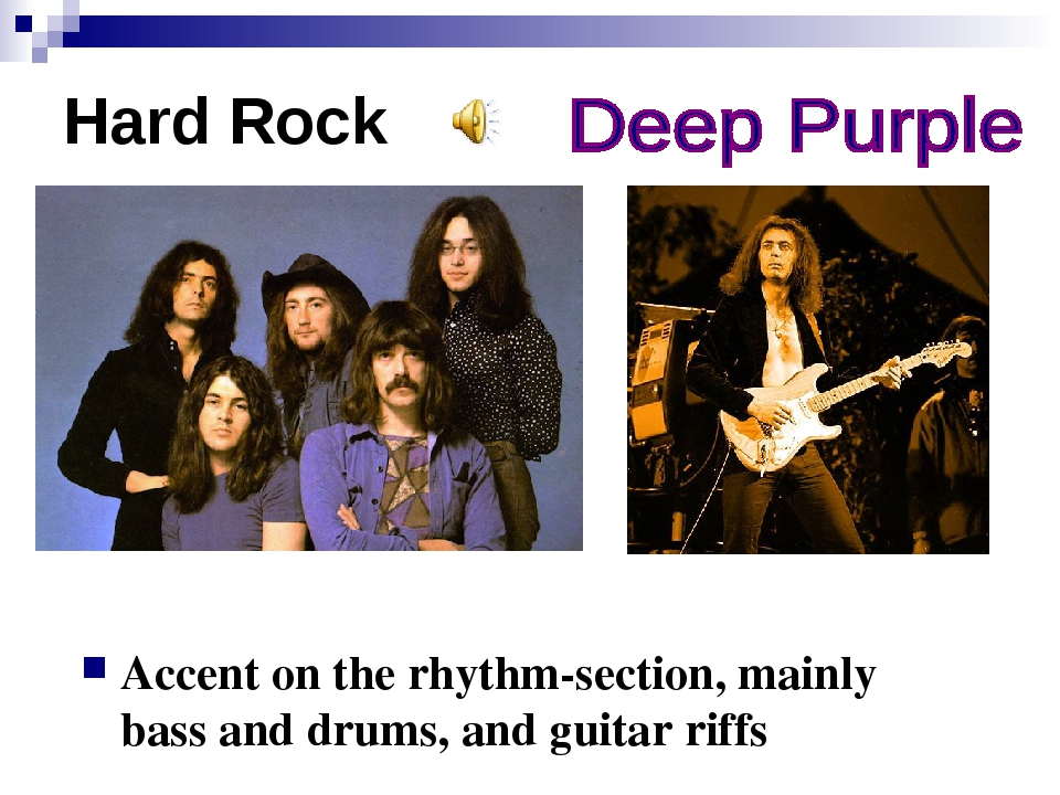 Hard Rock Accent on the rhythm-section, mainly bass and drums, and guitar riffs