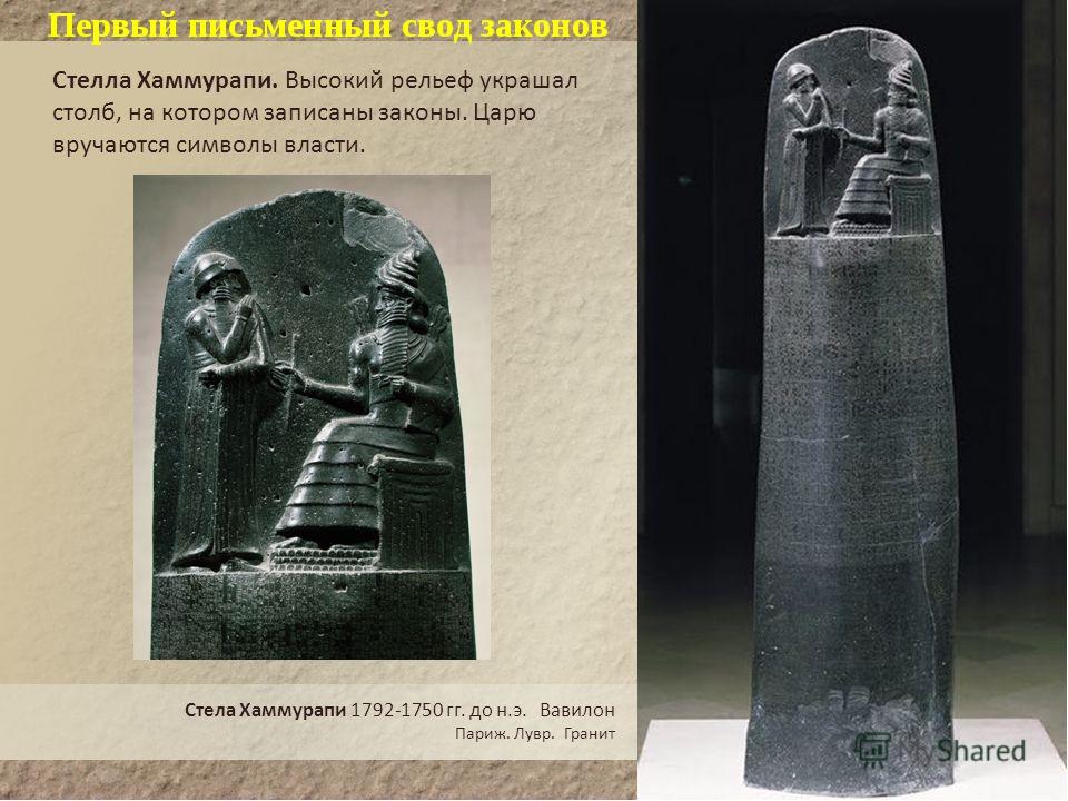 2. Законы царя Хаммурапи Первый письменный свод законов