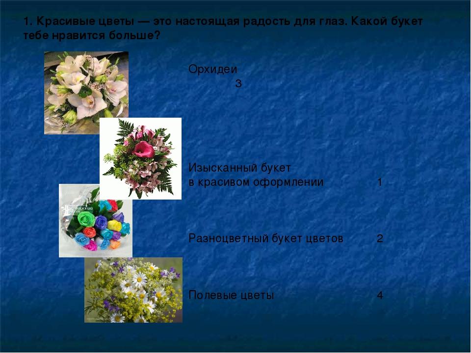 1. Красивые цветы— это настоящая радость для глаз. Какой букет тебе нравится...