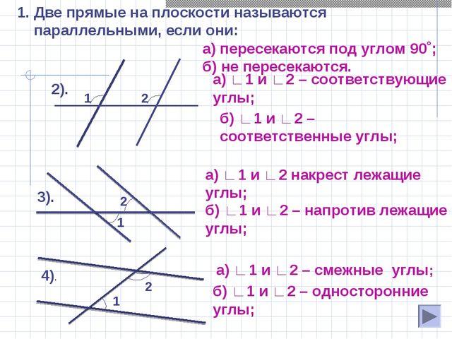 Две прямые на плоскости называются параллельными, если они: а) пересекаются п...