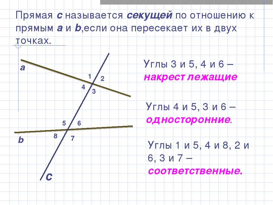 Прямая с называется секущей по отношению к прямым a и b,если она пересекает и...