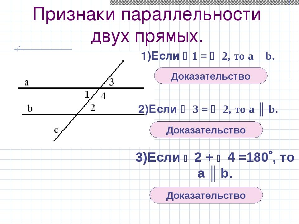 Признаки параллельности двух прямых. 1)Если 1 =  2, то а ║ b. 2)Если  3 =...