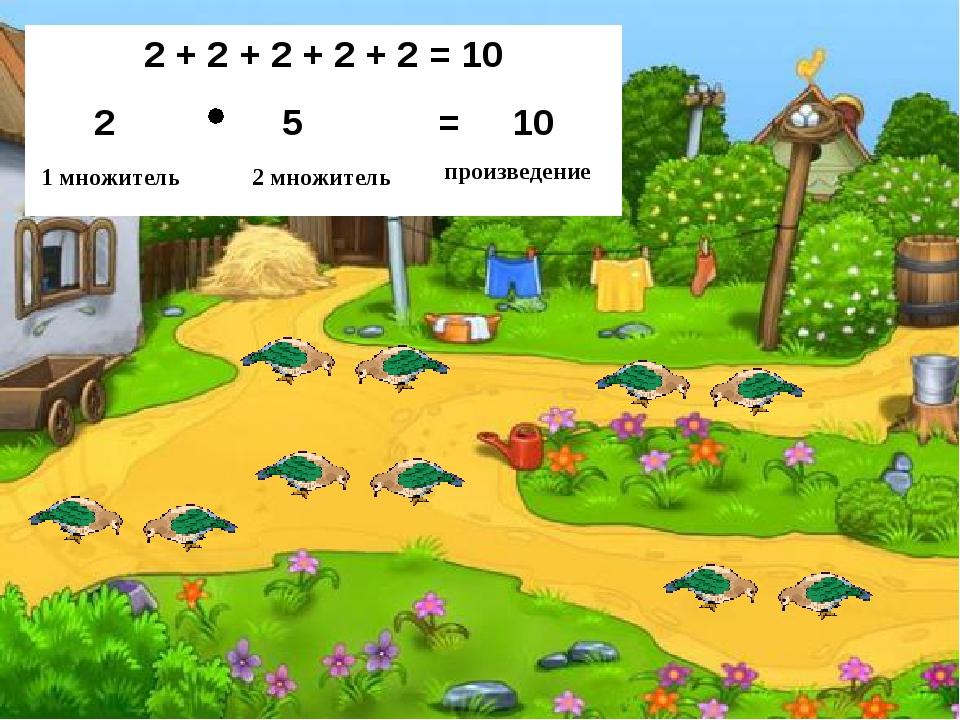 2 + 2 + 2 + 2 + 2 = 10 5 = 10 1 множитель 2 множитель произведение