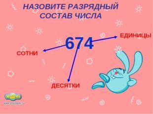 НАЗОВИТЕ РАЗРЯДНЫЙ СОСТАВ ЧИСЛА 674 ЕДИНИЦЫ ДЕСЯТКИ СОТНИ