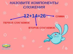 НАЗОВИТЕ КОМПОНЕНТЫ СЛОЖЕНИЯ 12+14=26 ПЕРВОЕ СЛАГАЕМОЕ ВТОРОЕ СЛАГАЕМОЕ СУММА