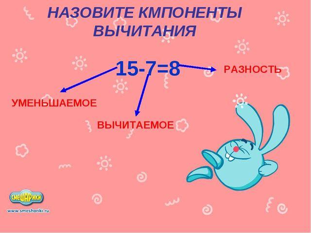 НАЗОВИТЕ КМПОНЕНТЫ ВЫЧИТАНИЯ 15-7=8 УМЕНЬШАЕМОЕ ВЫЧИТАЕМОЕ РАЗНОСТЬ