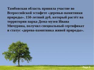 Тамбовская область приняла участие во Всероссийской эстафете «деревья-памятни
