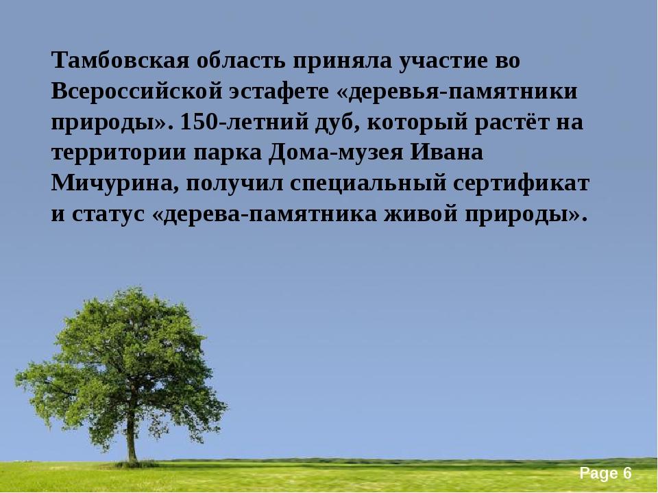 Тамбовская область приняла участие во Всероссийской эстафете «деревья-памятни...
