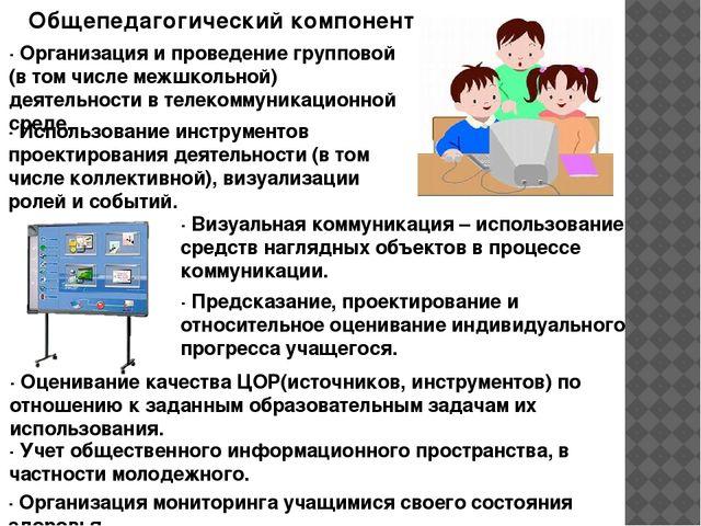 Общепедагогический компонент · Организация и проведение групповой (в том числ...