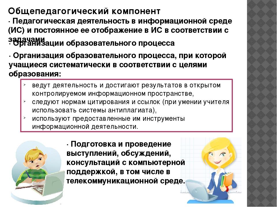 Общепедагогический компонент · Педагогическая деятельность в информационной с...