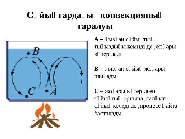 Сұйықтардағы конвекцияның таралуы А – қызған сұйықтың тығыздығы кемиді де ,ж...