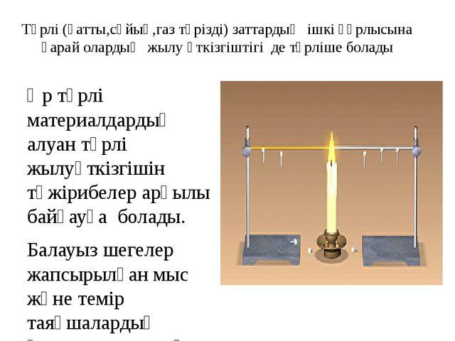 Түрлі (қатты,сұйық,газ тәрізді) заттардың ішкі құрлысына қарай олардың жылу ө...