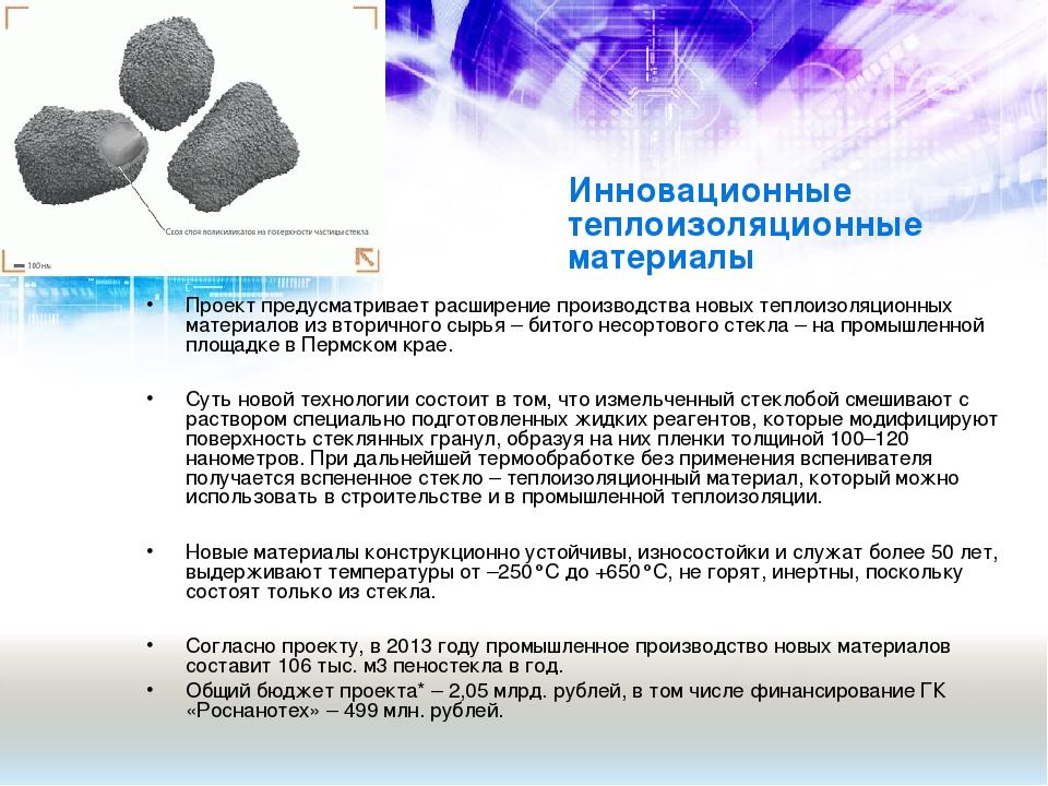 Инновационные теплоизоляционные материалы Проект предусматривает расширение п...