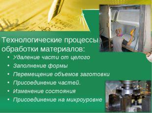 Технологические процессы обработки материалов: Удаление части от целого Запол
