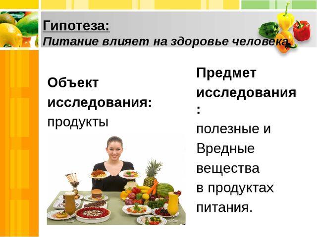 Гипотеза: Питание влияет на здоровье человека. Объект исследования: продукт...