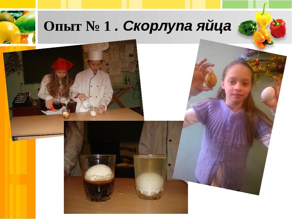 Опыт № 1 . Скорлупа яйца