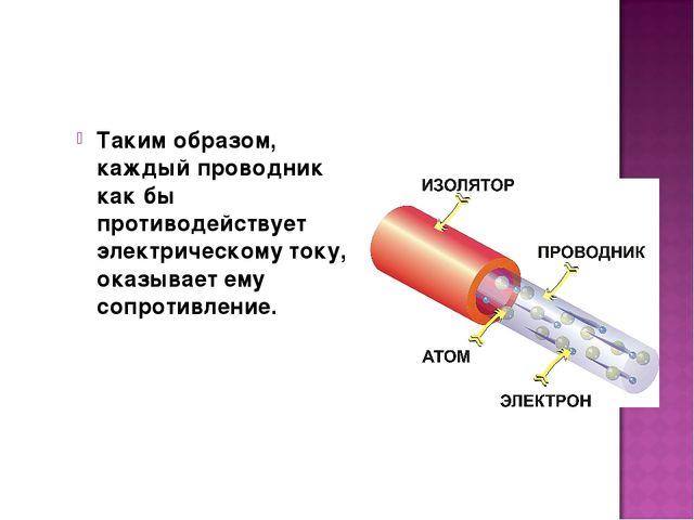 Таким образом, каждый проводник как бы противодействует электрическому току,...
